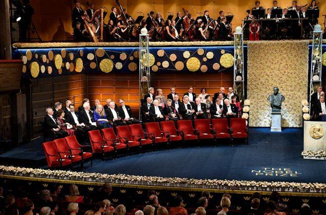 Nobelprisutdelningen i Konserthuset i Stockholm förra året. Arkivbild: Henrik Montgomery/TT.