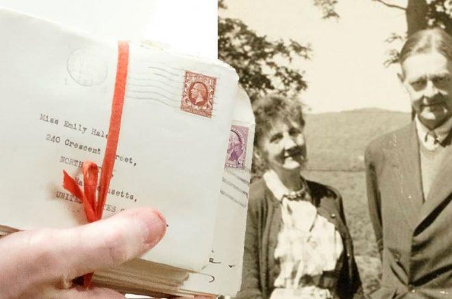 De över tusen brev från TS Eliot har varit förseglade i mer än 60 år. (Foto: Shelley Szwast/AP/TT). Till höger: Emily Hale och TS Eliot i Vermont 1946. (Foto: Princeton University Library/AP/TT)