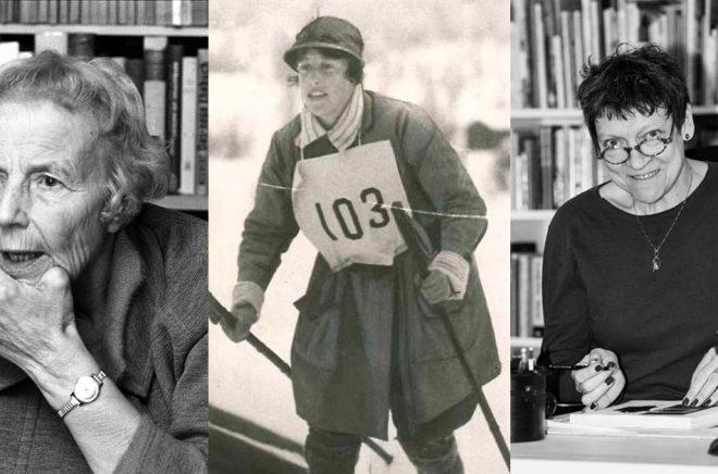 Margit Nordin åkte som första kvinna Vasaloppet 1923. Hon kom i mål åtta minuter efter den siste mannen. Före målgången stannade hon och gjorde sig fin i håret. Arkivbild: Wikimedia.  Elise Ottesen-Jensen (foto: Sverre A. Børretzen/NTB) är en annan av de 40 kvinnliga pionjärer som Eva-Karin Gyllenberg (foto: Ordalaget/Pressbild) valt ut.  Hon är till vardags journalist på Dagens Nyheter.