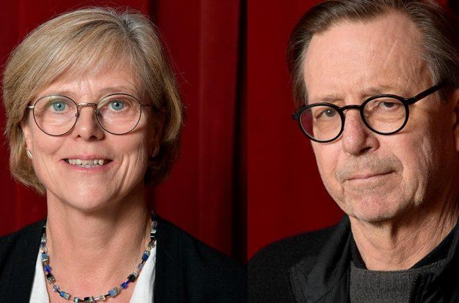 Ingrid Carlberg och Steve Sem-Sandberg är nu officiellt ledamöter av Svenska Akademien. Arkivbild: Anders Wiklund/TT.