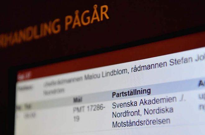 Svenska Akademien stämde tidigare i år Nordiska motståndsrörelsen och deras nätsajt Nordfront för brott mot det så kallade klassikerskyddet. Arkivbild: Jessica Gow/TT.