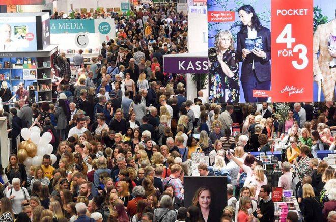 Så här mycket folk kommer det inte att vara på Bokmässan i Göteborg, som arrangeras precis innan lättnaderna i restriktionerna slår in. Bild från Bokmässan 2019. Foto: Fredrik Sandberg/TT.
