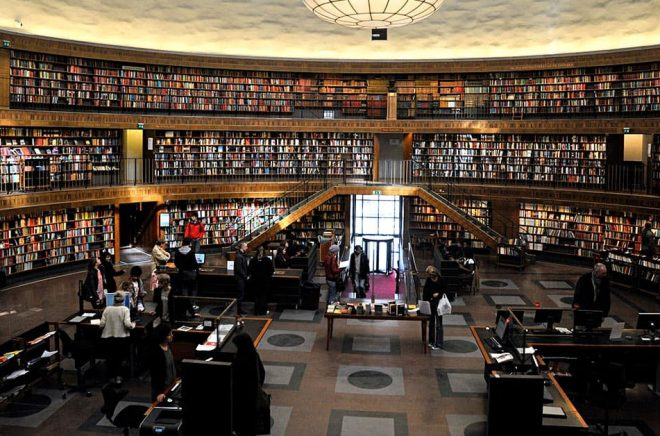 Stora salen i Stockholms Stadsbibliotek. Arkivbild: Hasse Holmberg/TT.