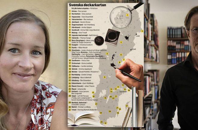 Två av många författare som i sina kriminalromaner skildrar Sverige: Stina Jacksons