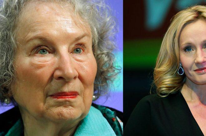 Den kanadensiska författaren Margaret Atwood (Arkivbild: Alastair Grant/AP/TT) t v är en av de 150 undertecknarna av det öppna brevet. Den brittiska författaren JK. Rowling (Arkivbild: Lefteris Pitarakis/AP/TT) känner en stolthet över att undertecknat det öppna brevet, där budskapet är att yttrandefriheten är under hot.