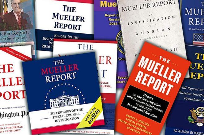 Samma innehåll, olika omslag. The Mueller Report har skapat en flod av bokutgivningar i USA. Till och med en ljudbok. Fotomontage: Boktugg.