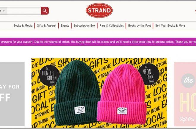 Efter sitt nödrop fick The Strand 10 000 ordrar på en enda dag i webbshopen - jämfört med 600 i vanliga fall. Skärmdump.