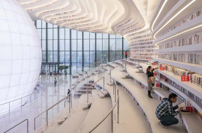 Stadsbiblioteket i Tianjin Binhai, Kina. Foto: Ossip van Duivenbode/MVRDV