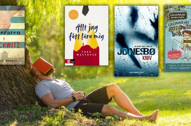 TOPPLISTORNA - de 20 mest sålda böckerna i Sverige under juli månad 2019 i olika genrer/kategorier. Bakgrundsfoto: iStock. Montage: Boktugg.