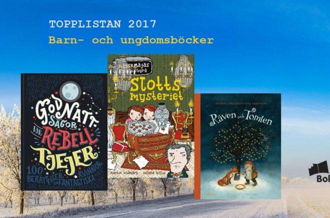De 20 mest sålda barn- och ungdomsböckerna i Sverige under 2017. Bakgrundsbild: Fotolia. Montage: Boktugg.