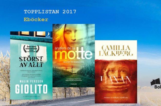 De mest sålda eböckerna (download) i Sverige 2017. Bakgrundsbild: Fotolia. Montage: Boktugg.