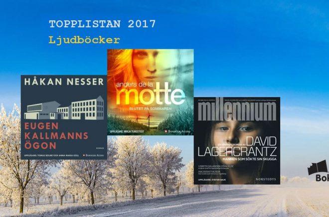 De mest sålda ljudböckerna (ej streaming) i Sverige 2017. Bakgrundsbild: Fotolia. Montage: Boktugg.