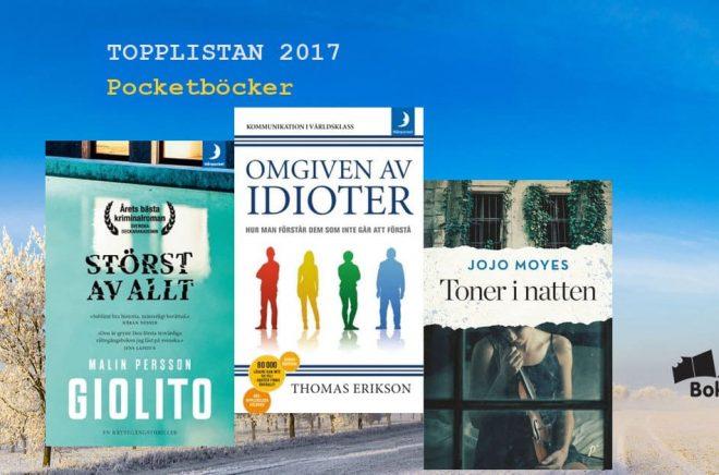 De 20 mest sålda pocketböckerna i Sverige 2017. Bakgrundsfoto: Fotolia. Montage: Boktugg