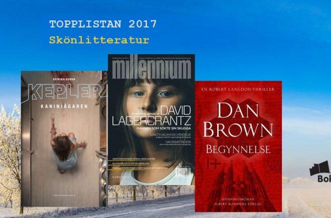 De 20 mest sålda skönlitterära böckerna i Sverige 2017. Bakgrundsbild: Fotolia. Bildmontage: Boktugg.