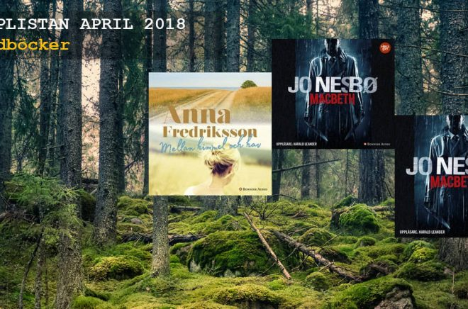 De 20 mest sålda ljudböckerna (ej streaming) under april 2018. Bakgrundsfoto: iStock.