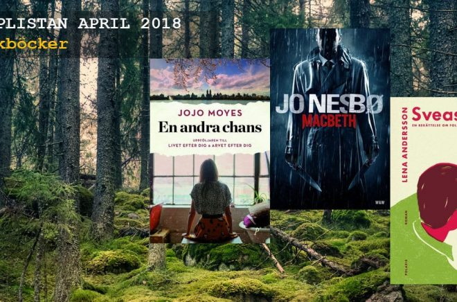De 20 mest sålda skönlitterära böckerna i april 2018. Bakgrundsbild: iStock.