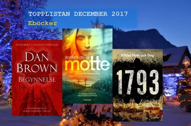 De 20 mest sålda eböckerna i december 2017. Bakgrundsbild: Fotolia. Montage: Boktugg.
