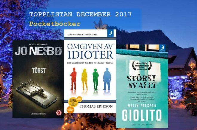 De 20 mest sålda pocketböckerna i december 2017. Bakgrundbild: Fotolia. Montage: Boktugg.