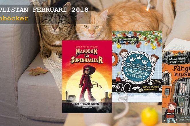 De 20 mest sålda barnböckerna i Sverige under februari 2018. Bakgrundsfoto: Fotolia.