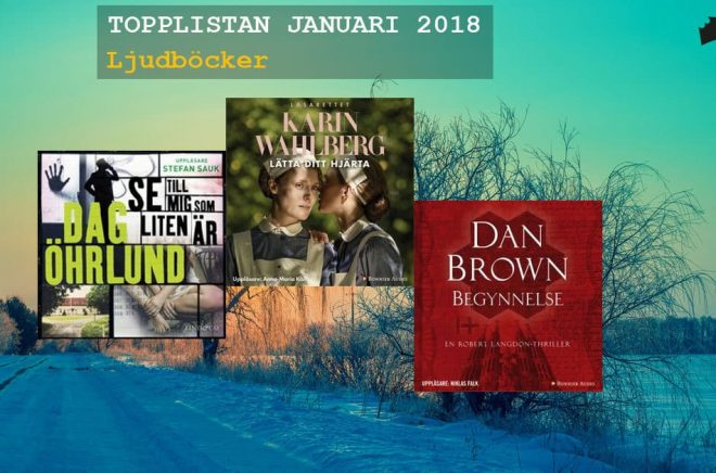 De mest sålda (fysiska och nedladdade) ljudböckerna i januari 2018.