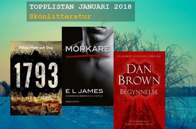 De mest sålda skönlitterära böckerna i januari 2018.