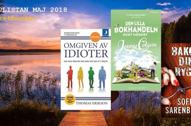 De 20 mest sålda pocketböckerna i Sverige under maj 2018. Bakgrundsfoto: iStock.