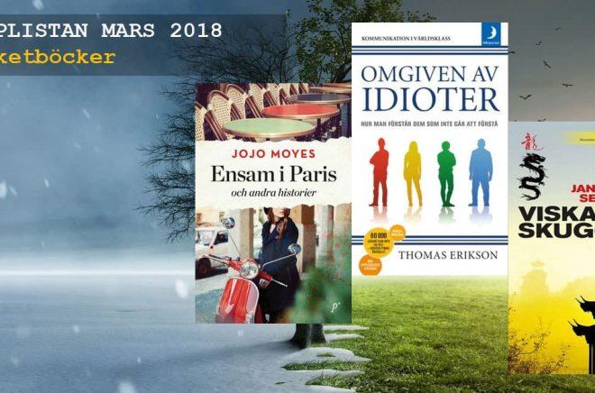 De 20 mest sålda pocketböckerna i Sverige mars 2018. Bakgrundsfoto: Fotolia. Bildmontage: Boktugg.