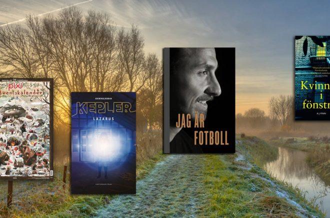 Några av de böcker som toppade listorna över de mest sålda böckerna i Sverige i november 2018. Bakgrundsfoto: iStock.