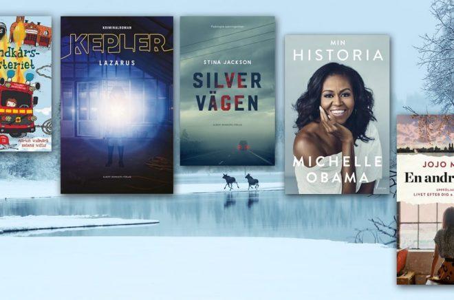 De 20 mest sålda böckerna i Sverige i februari 2019 - i fyra olika kategorier/genrer samt två format. Bakgrundsfoto: iStock.