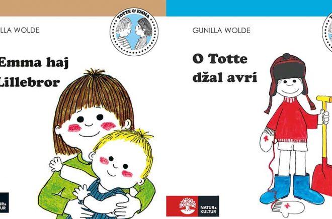 Två av de tolv Totte och Emma-böcker som numera finns på romani.