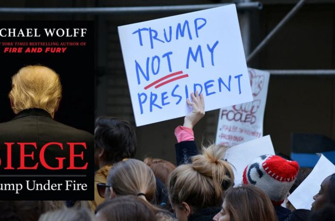 Omslaget till den nya boken av Michael Wolff om Donald Trump. Bakgrundsbilden: protester mot Trump i november 2016. Foto: vivalapenler/iStock.