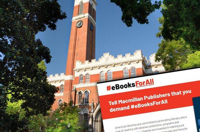 Nästa Digital Book World äger rum på Vanderbilt Unversity i Nashville. Frågan är om någon från storförlaget Macmillan är välkommen då. Foto: iStock. Montage: Boktugg.