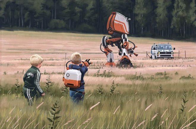 Bild från Ur Varselklotet av Simon Stålenhag.