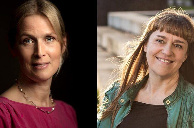 Viktoria Höglund (foto: Björn Qvarfordt) och Kerstin Bergman (foto: Andreas Gruvhammar) är två av författarna som kommer ut med deckare på Southside Stories i höst.