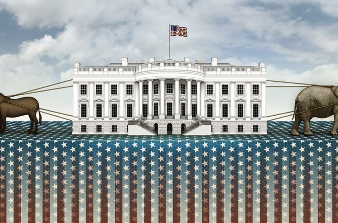 Dragkampen om det Vita huset. Illustration: Fotolia.