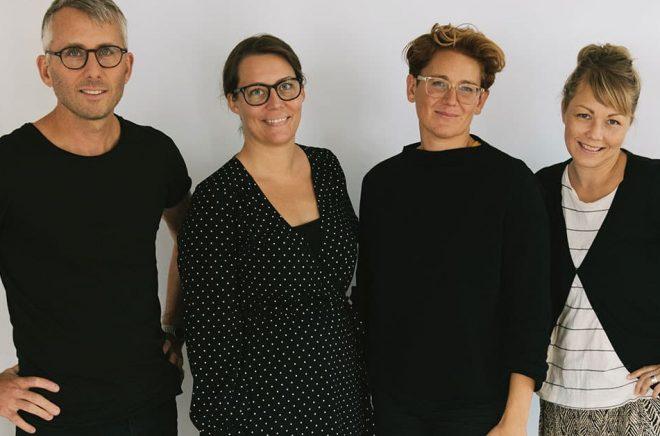 Delar av Team WAPI: Mattias Lundgren, CEO & Founder, Sara Olsson, Publishing Editor, Jessica Rudin, COO & Partner, Alexandra Harlegård, Publishing Content Manager.
