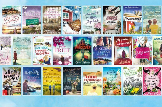 De 25 böckerna på longlisten till första omgången av det nya priset Årets feelgood. Foto: Pressbild