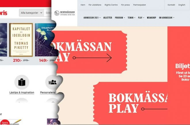 Adlibris blir årets försäljningspartner online för Bokmässan i Göteborg. Montage: Boktugg.