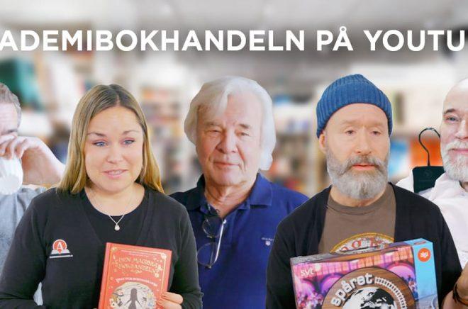 Ola Rapace, Jan Guillou och Lars Wallin är tre av författarna som Akademibokhandeln besöker i sin Youtubesatsning. Och medarbetarna Caroline och Göran bjuder på boktips. Foto: Pressbild Akademibokhandeln