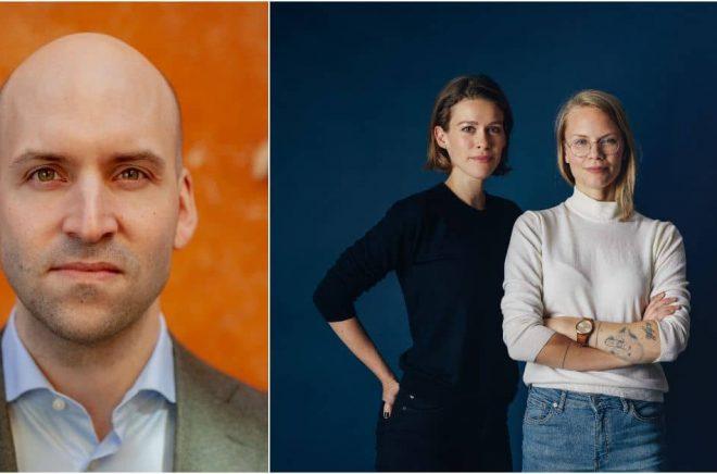 Erik Larsson (foto: Gustav Ahlgren), litterär agent på Albatros Agency, och grundarna Elin Sandström Lundh och Martina Österling (foto: Jens Nilsson).