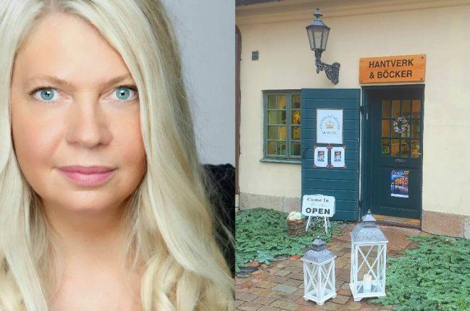 Anna Ihrén och hennes bod i Kronhuskvarteret. Foto: Privat