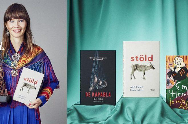 Författaren Ann-Helén Laestadius. Foto: Henrik Almegård Mårtensson. Till höger: de tre högst placerade böckerna i Årets bok 2021.