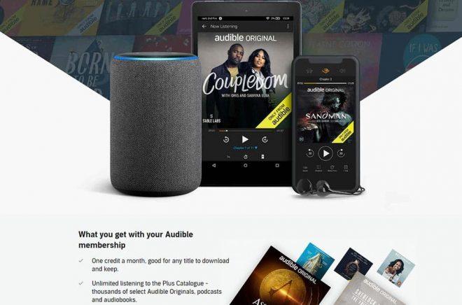 Lyssna obegränsat är nu en av de saker som poängteras i marknadsföringen av Audible-prenumerationen i UK.