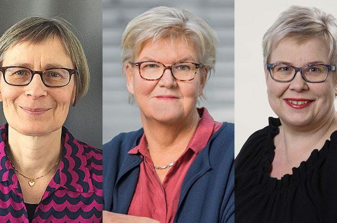 Augustjuryernas ordföranden. Gunnel Furuland (foto: Sanja Salcic), Gunilla Herdenberg (foto: Jann Lipka) och Mia Österlund (foto: Rolf Niskanen).