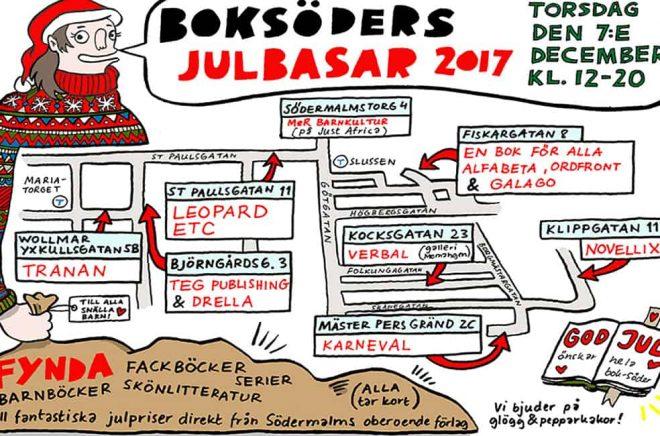 Bazar bland bokförlag på Söder i Stockholm 2017. Illustratör: Elin Lucassi