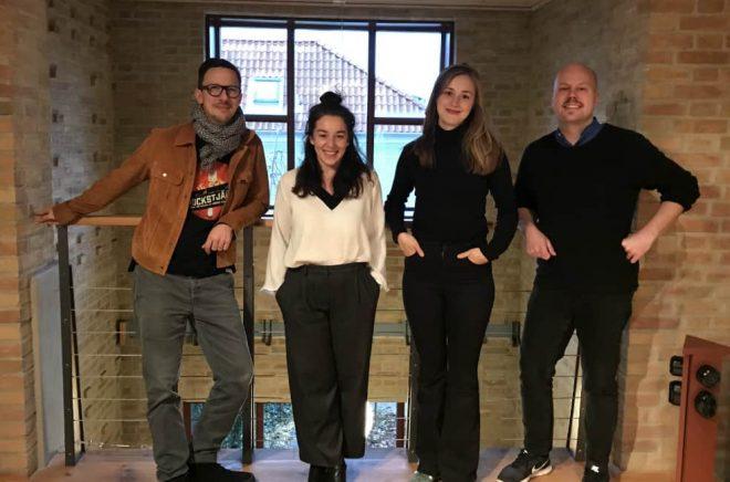 Lasse Brahme, Therese Karlsson, Sarah Linton och Björn Gadd på Bokfabriken.