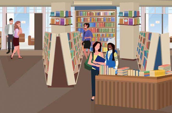 Framtidens bokhandel tar entréavgift? Illustration: iStock.