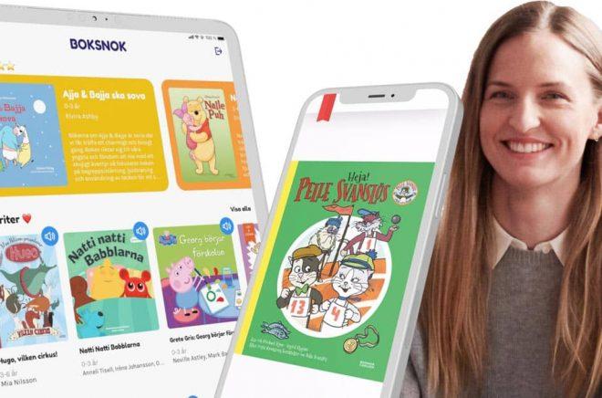 Monica Fagraeus Lundström, medgrundare och vd på Boksnok kan glädjas åt att bolaget fått in nya investerare och nytt kapital. Foto: Pressbilder. Montage: Boktugg.