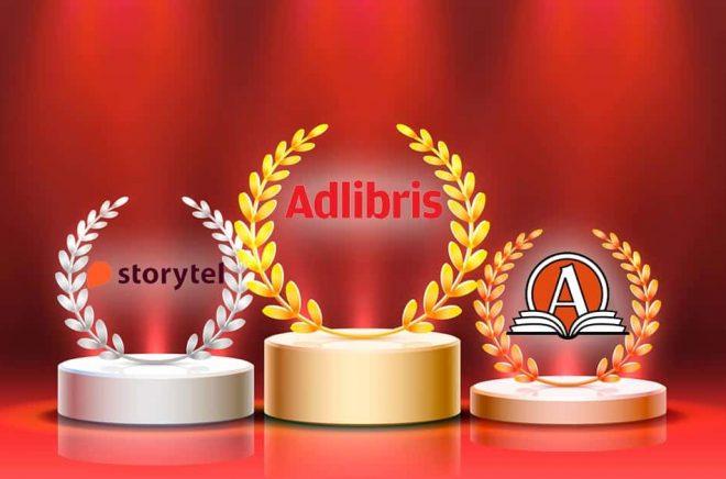 Prispallen för Evimetrix Swedish Brand Award 2021. Adlibris har starkaste varumärket enligt undersökningen. I kategorin böcker. Illustration: iStock. Montage: Boktugg.