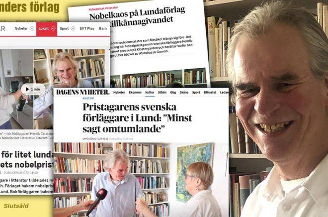 Tv och tidningar dök upp hemma hos Henrik Celander och hustrun Lena Andersson igår efter att det stod klart att Celanders förlag hade gett ut en Nobelpristagare. Foto: Privat. Montage: Boktugg.